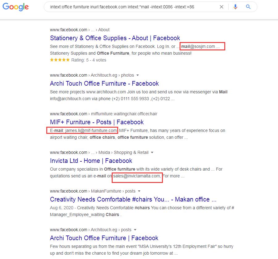 facebook结合谷歌高级指令客户开发