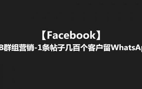 【Facebook】FB群组营销-1条帖子几百个客户留WhatsApp